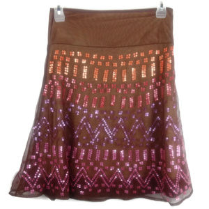 Arden B Sequin Boho Festival Mini Skirt